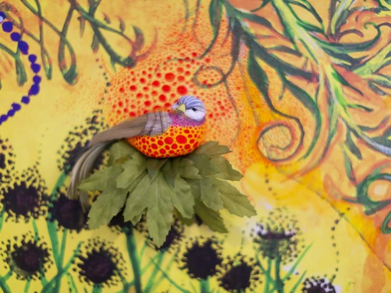 FaceBook mural, bird detail