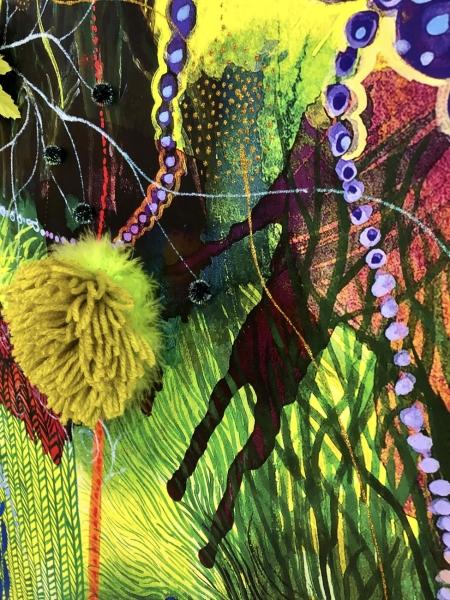 FaceBook mural, PomPom and fur detail