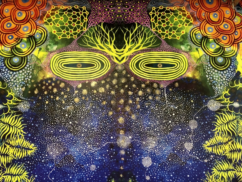 FaceBook mural, starry sky detail