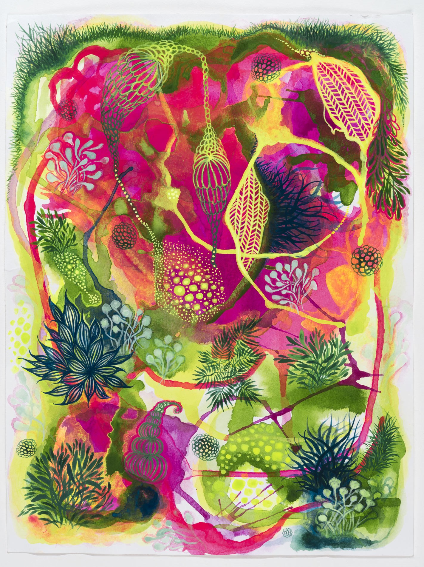 Abstracted Garden in Pink and Green I